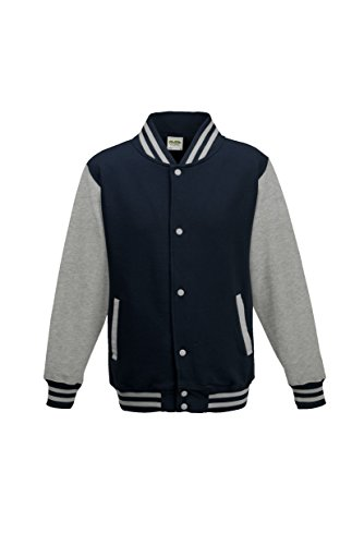 AWDis Hoods Big Boys' Varsity Letterman Jacket Oxford Navy/ Heather Grey 9 to 11 -