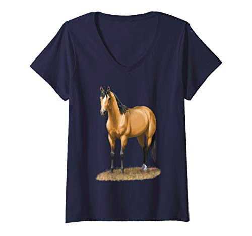 Womens Beautiful Buckskin Dun Quarter Horse Stallion Horse Lovers V-Neck T-Shirt ()