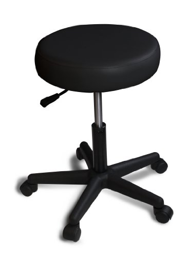 Spa Luxe Rolling Adjustable Swivel Stool - Home, Office and Beauty (Black)