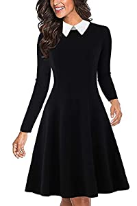Drimmaks Women's Long Sleeve Peter Pan Collar Swing A-Line Party Casual Skater Dress