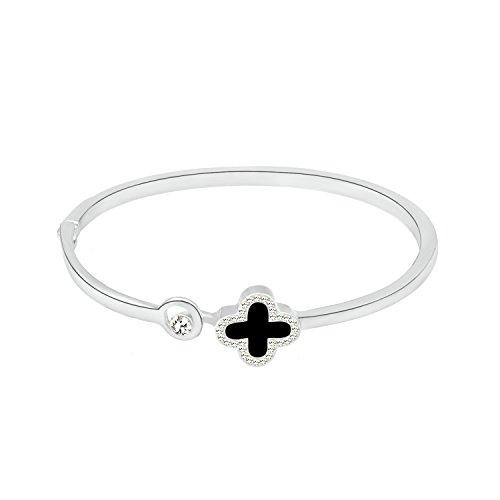 Yntmerry bracelet women wear wild jewelry simple four-leaf clover bracelet factory direct,Black + Silver (Jewelry Me Near Box Store)