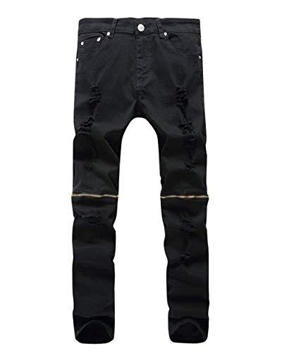 Ocasionales Los Mezclilla Rasgados Battercake Negro Del Cierre Delgados Cómodo Pantalones Destruidos De Estiramiento Hombres Retro wvXCnCYq4
