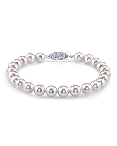 THE PEARL SOURCE 14K Gold 7-7.5mm AAA Quality Round White Japanese Akoya Saltwater Cultured Pearl Bracelet for Women