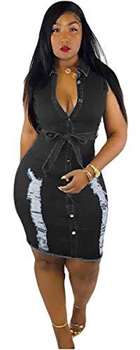 (Hotheart Women's Long Sleeve Lapel Button Ripped Distressed Holes Bodycon Sexy Nightclub Party Denim Dress (L, Sleeveless Black))