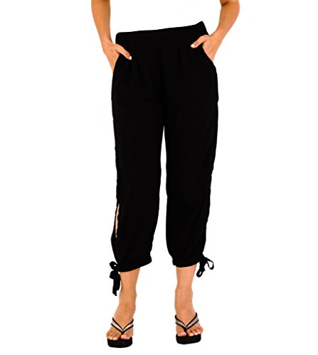SHU-SHI Womens Boho Cropped Summer Pants with Side Slits Black X Large
