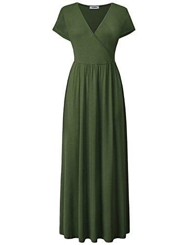 JCZHWQU V Neck Dress, Womens Casual Dresses Vneck Cap Sleeve Highwaist Floor Length Solid Color Modest Designer Classy Maxi Dress for Daily Wear Army Green XXL