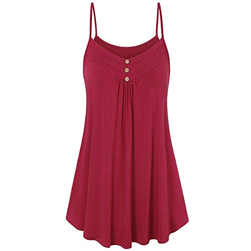 Kulywon Women Summer Loose Button V Neck Solid Tank Tops Blouse 2019 - Lift 686