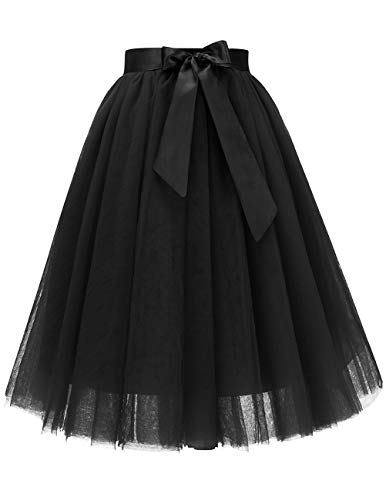 Bridesmay Women's Knee Length 5-Layered Tulle A-line Tutu Skirt Evening Party Prom Skirt Black M