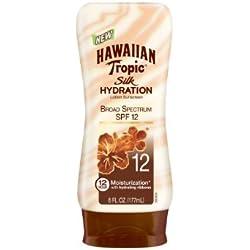Hawaiian Tropic Sunscreen Silk Hydration Moisturizing Broad Spectrum Sun Care Sunscreen Lotion - SPF 12, 6 Ounce