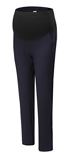Trousers Bootcut Cotton (Foucome Womens Maternity Bootcut Stretch Career Dress Pants Work Office Over-bump Trousers Navy Blue, Fit Waist 33.8