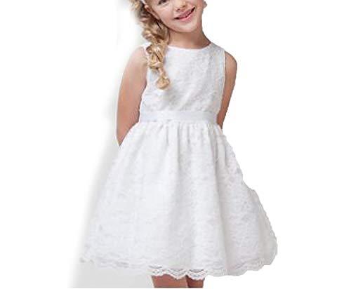 Balalei 2019 Girls Flower Pleated Dresses Teenager Kids Baby Girl Birthday Party Wedding Princess Rose Dress,White,2T -