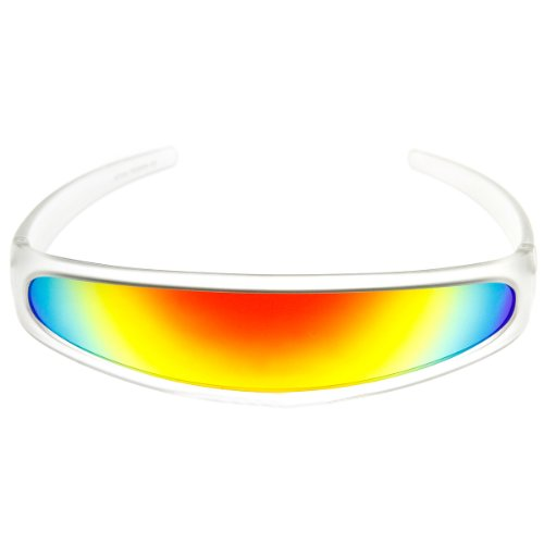 [zeroUV - Futuristic Narrow Cyclops Color Mirrored Lens Visor Sunglasses (Frost Sun)] (Cyclops Glasses)