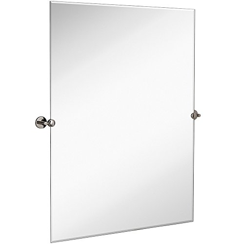 Hamilton Hills Large Pivot Rectangle Mirror with Polished Chrome Wall Anchors | Silver Backed Adjustable Moving & Tilting Wall Mirror |  30