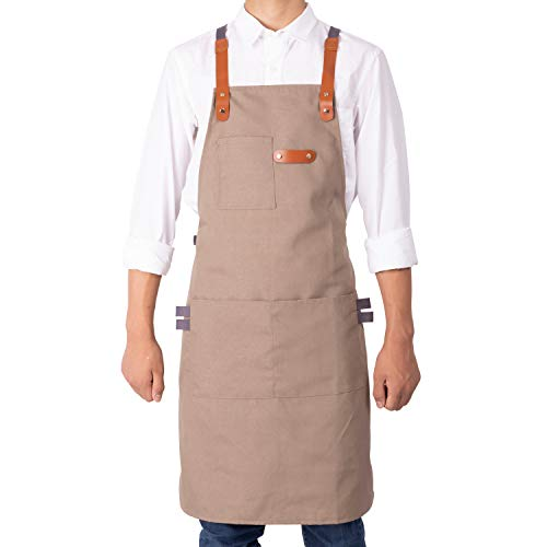 NEOVIVA Stylish Cooking Apron for Chef Women Men with Tool Pockets, Heavy-duty Grilling BBQ Aprons Professional for Kitchen and Workshop with Adjustable Cross-back Straps, Style Drew, Indian Latte ()