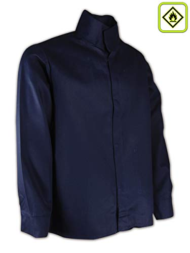 Magid Safety N1530 A.R.C. Jacket | 9 oz. NFPA 70E Compliant Arc-Resistant Jacket with an Inside Upper Left Patch Pocket & Mandarin Collar - Large, Navy Blue (1 Shirt) ()