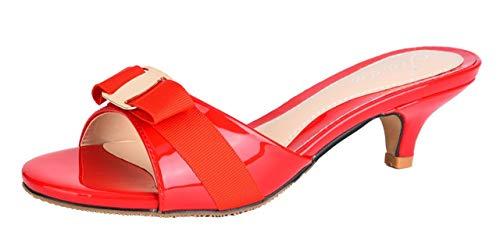 Jiu du Women's Slingback Slippers Cute Bowknot Slip On Open Toe Low Heels Ladies Sandals Red Patent PU Size US8.5 EU40 ()