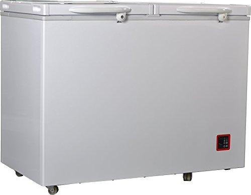 (SMETA 10.7 Cu,ft Double Door Chest Freezer AC/DC Solar Battery Powered Refrigerator,White)