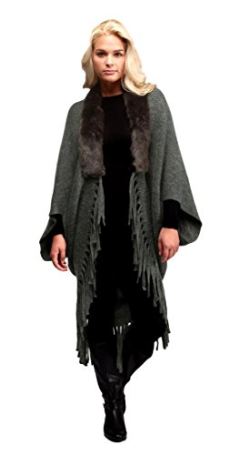 Extra Long Solid Color Shrug Shawl for Women with Faux Fur Trim Dark Olive