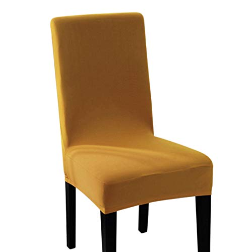Pinji 4PCS Spandex Stretch Chair Cover Dining Room Home Decor Removable Washable Slipcover Protector Yellow (Rooms Dining Yellow)