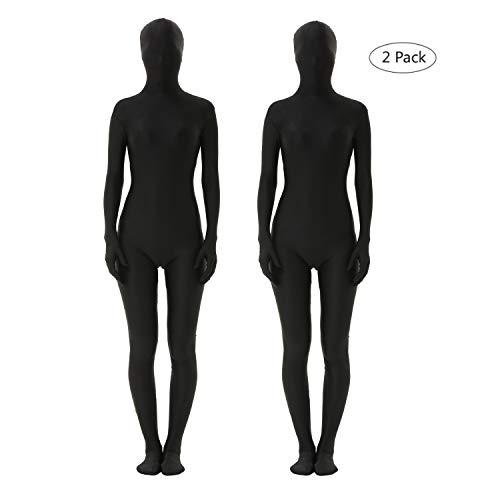 lttcbro Full Body Suit Spandex Unisex Zentai Suit Black Large 2 Pack]()