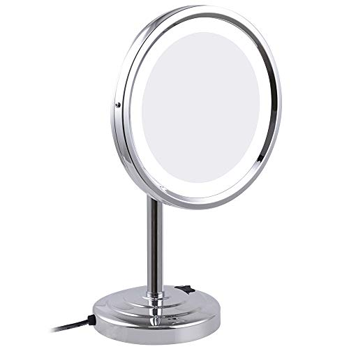 (Makeup Mirror 8 Inch 3X Magnifying Tabletop Makeup Mirror with led Lights Round Brass Cosmetic Compact Mirrors Chrome)