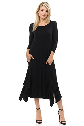 Pastel by Vivienne Women's Handkerchief Dress with Pockets Large Black ()