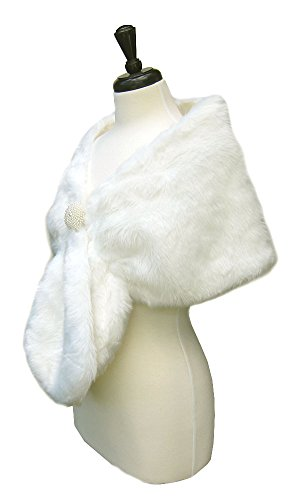 SACASUSA(TM) Long Beautiful shape Faux Fur Shawl Stole Cape in Ivory