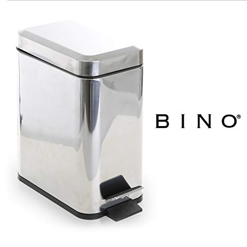 BINO Stainless Steel 1.3 Gallon / 5 Liter Rectangle Step Trash Can, Polished Steel