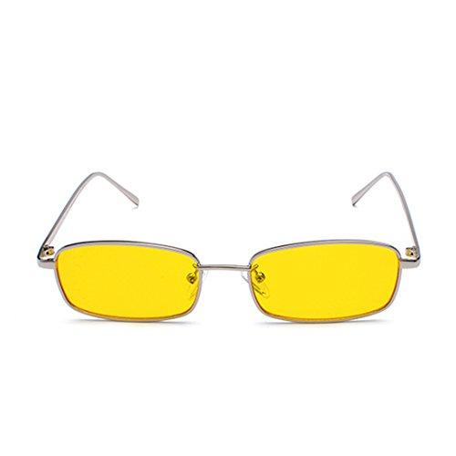Yefree marco sol unisex rojo para de Plateado de rectángulo lente 2018 mujeres de gafas gafas hombres amarillo Amarillo sol lente metal pequeño clara uv400 CrCvfx4qw