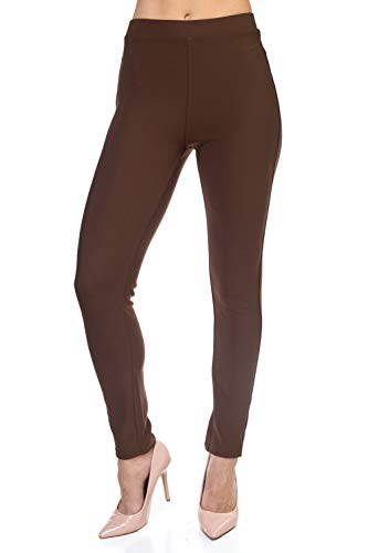 All Day Stretch Mocha Brown Dressy Leggings for Women Knit Pants- Premium Dressy Leggings (Mocha, Small/Medium)