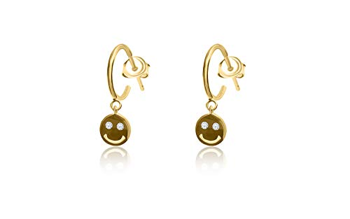 Fronay Collection 14k Gold Plated Silver Smiley Face Emoji Mini Hoop Earrings