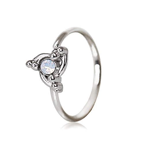 Amelia Fashion 20 Gauge Opal Center Ornate Swirl Bendable Nose Hoop Surgical Steel (Steel & Opal) ()