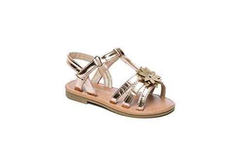 Koo-T Las niñas sandalias flor hebilla gladiador verano playa fiesta infantil tamaño Pippa Gold