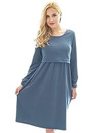 Bearsland Women's Maternity Long Sleeve Nursing Breastfeeding Dresses Pockets
