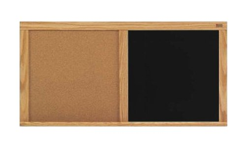 Marsh 33.5X45.5 Natural Cork Black Chalkboard Combination Board Oak Trim by Marsh
