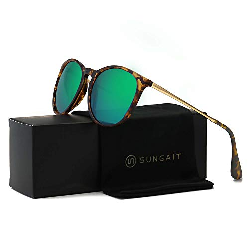 SUNGAIT Vintage Round Sunglasses for Women Girl Classic Retro Designer Style (Polarized Green Mirror Lens/Amber Frame(Matte Finish)) 1567 ()