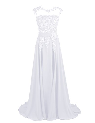 DRESSTELLS Long Bridesmaid Dress Applique Prom Dress Evening Party Gowns White Size 26W
