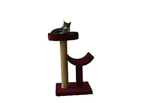 (Molly and Friends MF-23-burg Two-Tier Scratching Post Furniture, Burgundy )