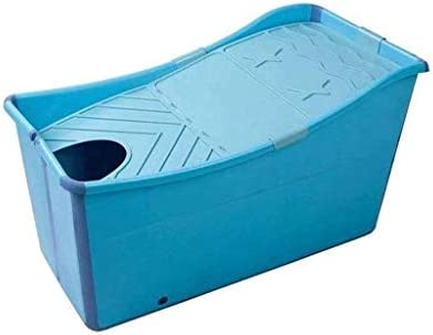 Kk キッズポータブル折りたたみバスタブプール大人のための大規模な独立型のコーナーバスタブ入浴バケツ/エルダーSPA高まり、カバー付きロング断熱時間(色:ブルー)