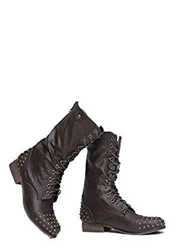 Breckelle's Mid Calf Combat Boot - Vegan Leather Zip Up - Studded Low Heel Lace Up - Easy Zipper Walking Shoe (Breckelles Combat Boots Women)
