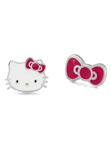 Hello Kitty Girls Jewelry, Sterling Silver Kitty and Bow Mismatched Stud Earrings