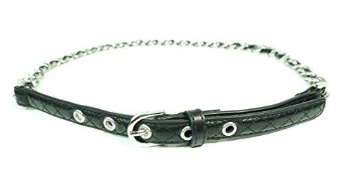 Michael Kors Hamilton Silver Chain/Black Faux Leather Belt (M)