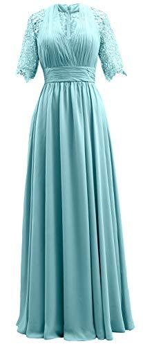 Femmes Macloth Courte Dentelle Manches Mère Formelle De Robe De Soirée De La Turquoise Robe De Mariée