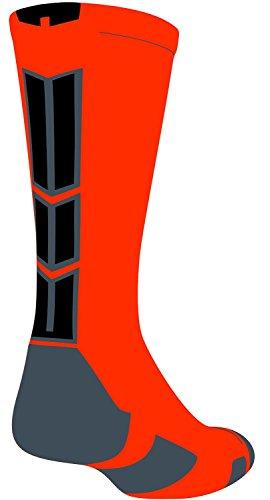 Baseline 3.0 Athletic Crew Socks (Neon Orange/Graphite/Black, Small)