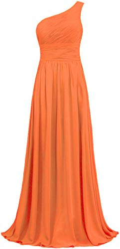 ANTS Women's Pleat Chiffon One Shoulder Bridesmaid Dresses Long Evening Gown Size 16 US Orange