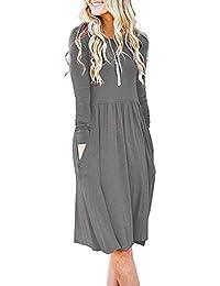 Women's Long Sleeve Pockets Empire Waist Pleated Loose Swing Casual Flare Dress