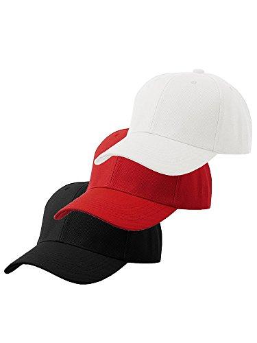 Men's Plain Baseball Cap Velcro Adjustable Curved Visor Hat - 3 Pack