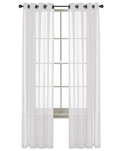 GoodGram 2 Pack Ultra Luxurious High Woven Elegant Sheer Grommet Curtain Panels - Assorted Colors (White) ()