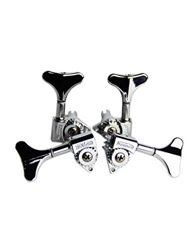 Wilkinson 4Pcs Bass Machine Heads (2L + 2R) WJB-750 Set - Diecast Treble Tuning Key Pegs Tuners Replacement for Electric Jazz Bass or Precision Instruments (Chrome)