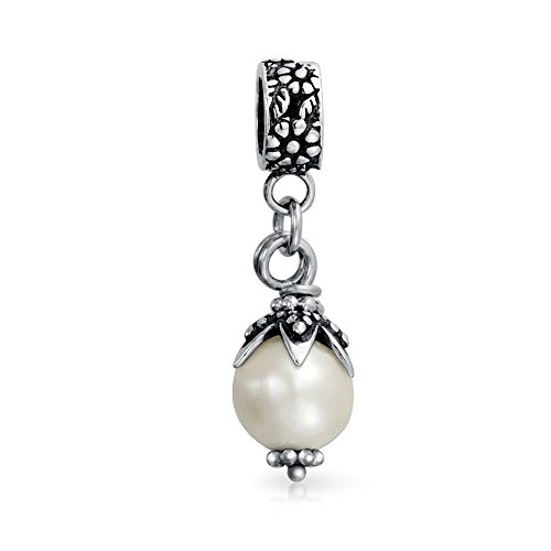Vintage Style Leaf Cap White Simulated Pearl Dangle Charm Bead For Women 925 Sterling Silver Fits European ()